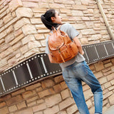 Retro Single Hook Brown British Style Leather Women's Backpack For Big Sale!- Fowish.com