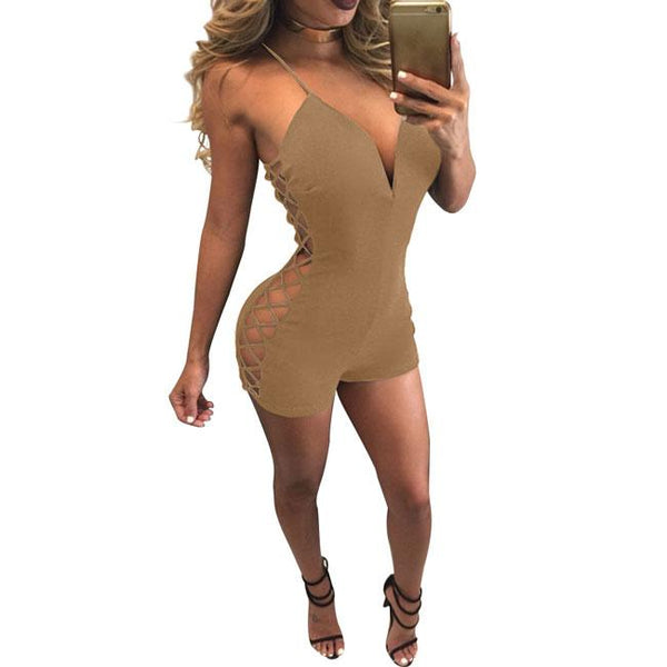 Sexy Women's Side Hollowed-out Backless V-neck Braces Short Pants Jumpsuit Romper For Big Sale!- Fowish.com