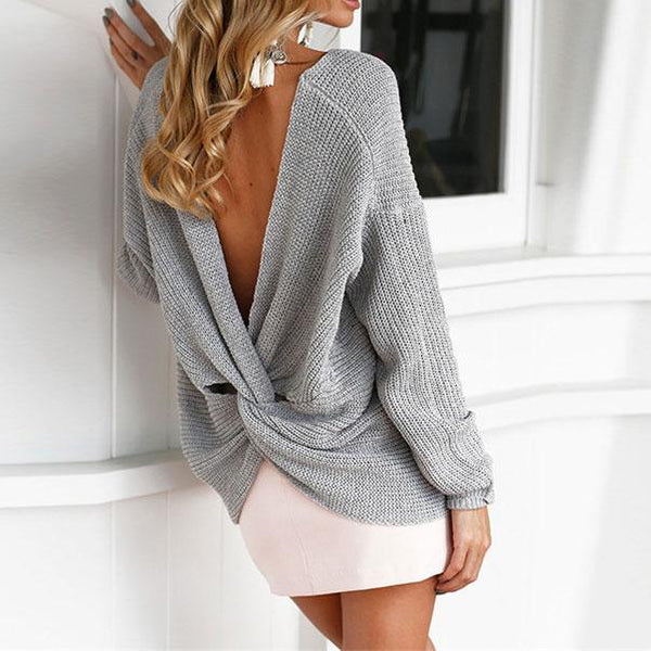 love Bare Midriff Knot Hollow Out Halter Zipper Sexy Sweater For Big Sale!- Fowish.com