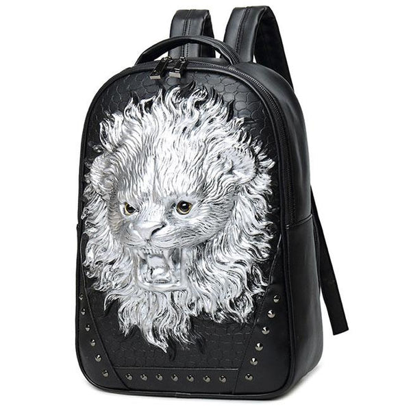 Punk 3D Lion Rivets Large Animal Men's Travel PU Stereo Ferocious Backpacks For Big Sale!- Fowish.com