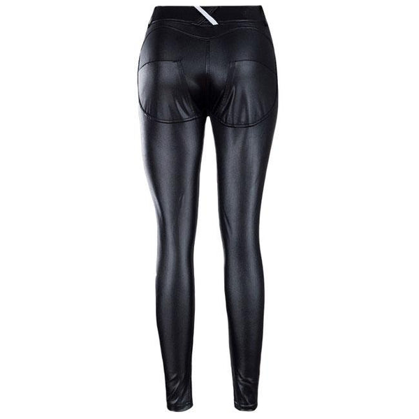 Sexy Show Out Black Shape-flaunting Peach Hips Leather Skinny Girl's Leggings For Big Sale!- Fowish.com