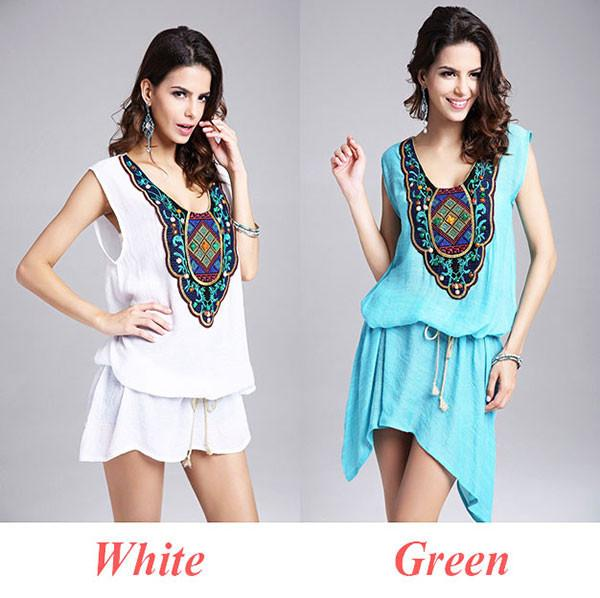Women's Sleeveless Embroidery Splicing loose Dress With Belt For Big Sale!- Fowish.com