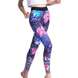 Fashion Girl's Tropical Plant Flowers And Leaves Printing Yoga Sports Ninth Skinny Legging For Big Sale!- Fowish.com