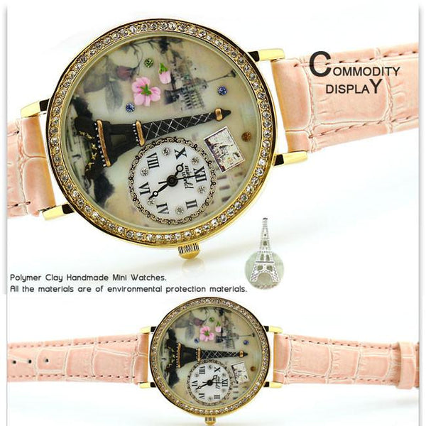 Romantic  Eiffel Tower Polymer Clay Watch - lilyby