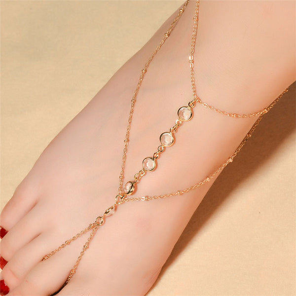Leisure Simple Beach Women Anklet Crystal Beaded Foot Accessory Anklet