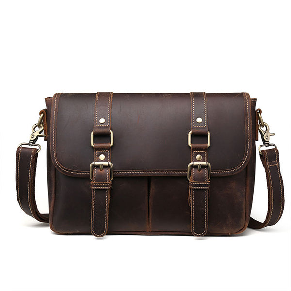 Retro Double Buckle Leather Business Bag Leather Briefcase Men's Handbags Shoulder Bag