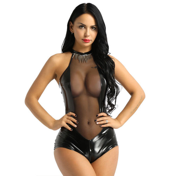 Sexy Open Bust Mesh Stitching Hollow Imitation Leather Conjoined Women Lingerie