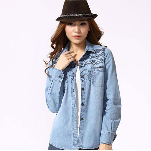 New Blue Embroidered Long-sleeved Denim Shirt - lilyby