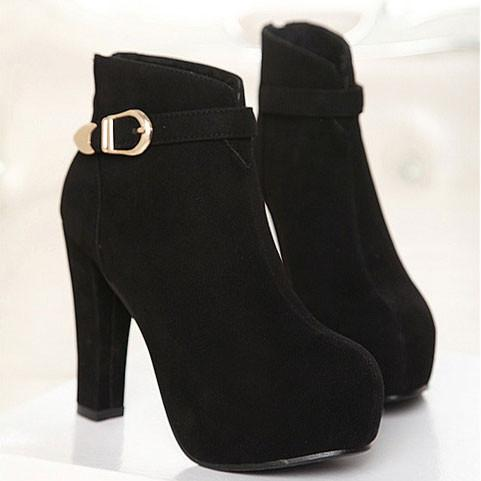 New Black Round Buckle Woman Martin Boots - lilyby