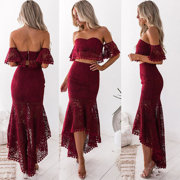 Leisure Lace Bandeau Backless Pencil Skirt Two Piece Set Hollow Summer Long Dress
