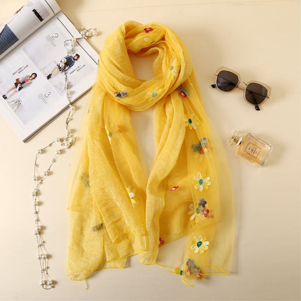 Fresh Multi-Color Flower Summer Silk Women Scarves Embroidered Scarf