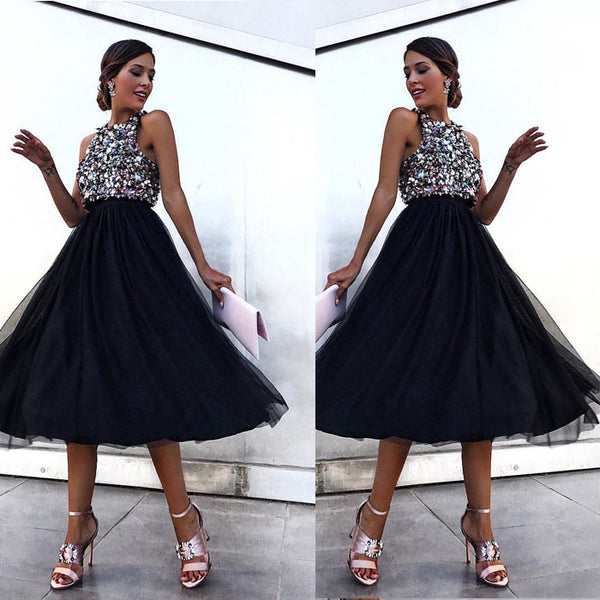 Sexy Prom Dress Halter Party Black Sleeveless Sequin Dress