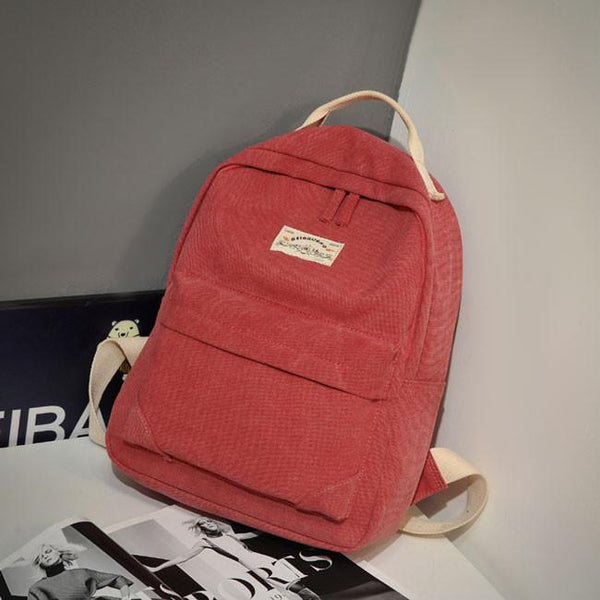 Simple Khaki Solid Pure Color School Bag College Canvas Backpack For Big Sale!- Fowish.com