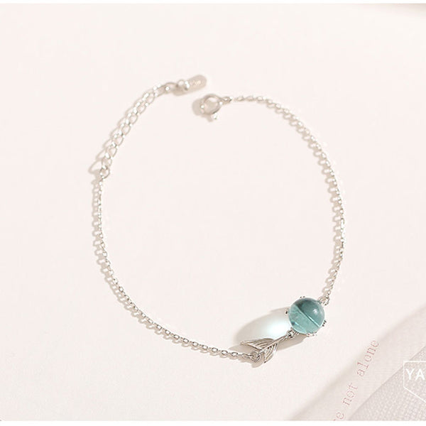 Fresh Cute Blue Bead Fishtail Bracelet Silver Romantic Women Bracelet