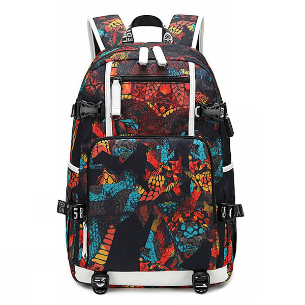 Cool USB Interface Waterproof Oxford Boy Sport Backpack Complex Pattern High School Bag