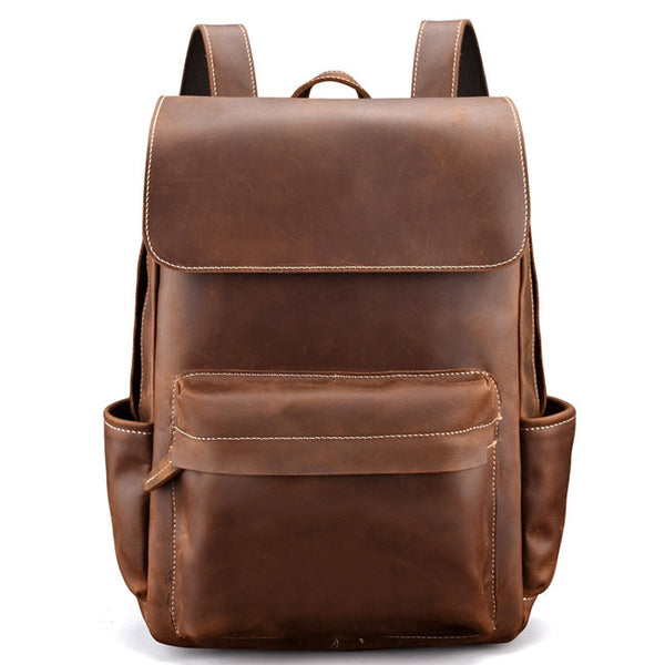 Retro Leather British Style Leisure Handmade Original Thick Men School Backpack