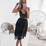 Fresh Halter Women Party Sling Backless Hollow Lace Summer Dress