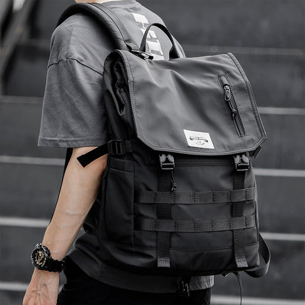 Cool Black Waterproof Double Buckle Large Computer Backpack College High School Bag Student Backpack