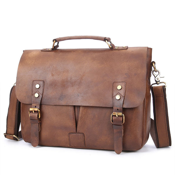 Retro Double Buckle Large Business Bag  Leather Men's Briefcase Shoulder Bag