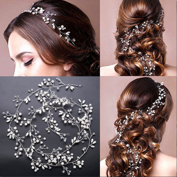Leisure Leaves Pearl Branch Headband Wedding Hair Chain Hair Accessories