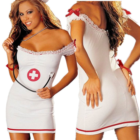 Sexy Nurse Costumes Nightdress Nurse Strapless Dress Lady Cosplay Lingerie