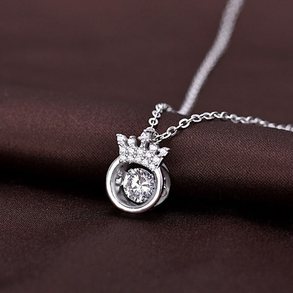 Unique Crown Diamond Ring Girlfriend Gift Women's Crown Silver Necklace Hollow Crystal Silver Necklace