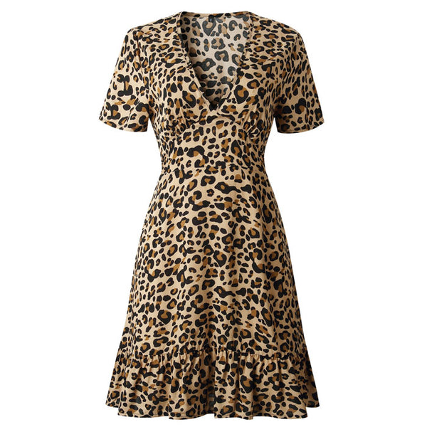 Sexy V-neck Leopard Print Short Sleeves Ruffled Summer Dress