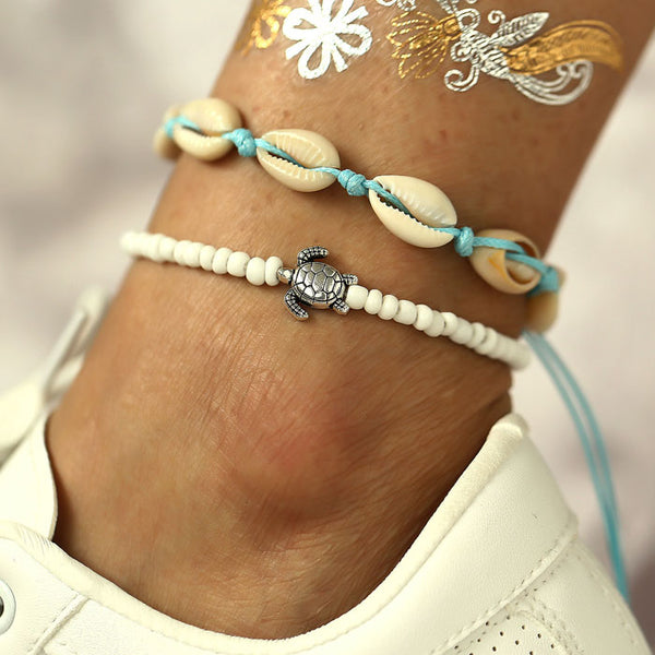 Unique Retro Beach Turtle Shell Bead Sliding 2 Piece Set Anklet