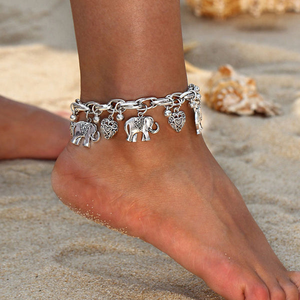 Retro Elephant Bracelet Love Heart Clavicle Chain Peach Heart Personality Chain Anklet