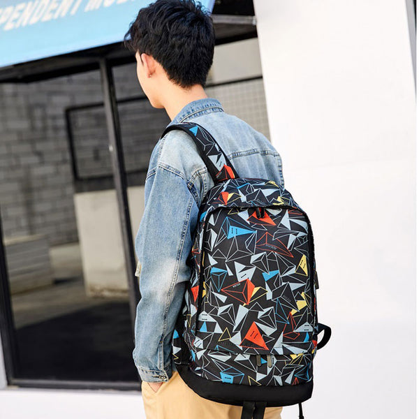 Fashion Mountaineering Travel Basketball Bag School Backpack  Triangle Print Oxford Male Outdoor Large Capacity Backpack