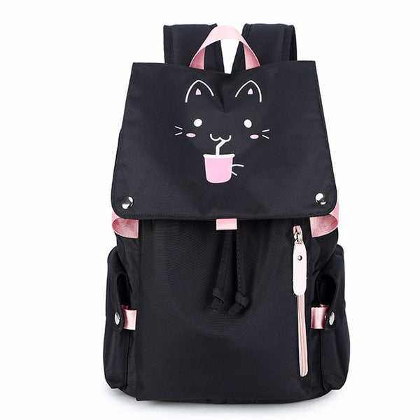 Fashion Cartoon Black Fluorescence Cat Drink Large Capacity Computer Backpack Flower Waterproof School Backpack