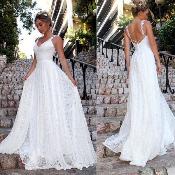Elegant V-neck  Lace Sleeveless Party Bridesmaid Dress White Long DressWedding Dress