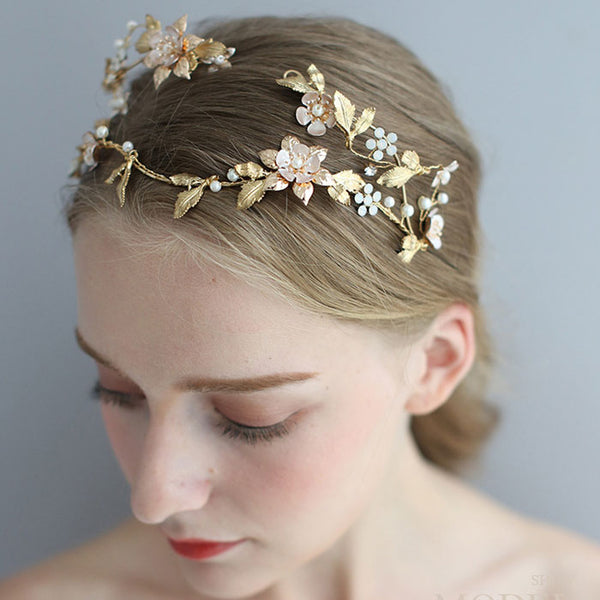 Unique Baroque Style Queen Crown Asymmetric Handmade Flower Leaves Pearl Bridal Headdress Hair Accessories
