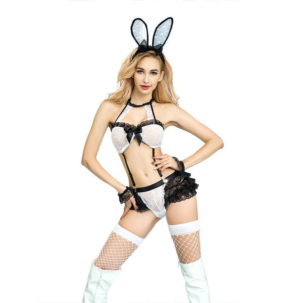 Cosplay Lingerie For Women Bunny Girl Perspective Hot Lace Uniform Rabbit Bra Set Bow Costume Lingerie