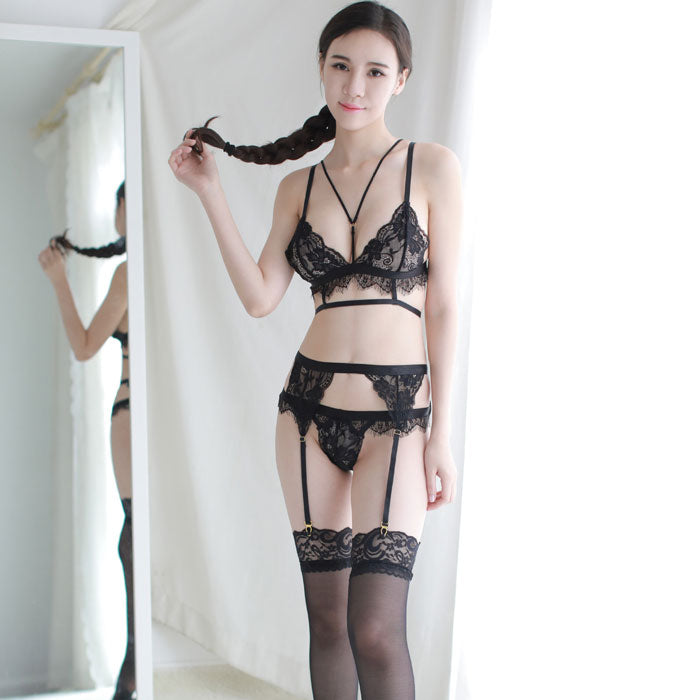 Sexy Black White Lace Bra Set Temptation Hot Porn Intimate Female Lingerie