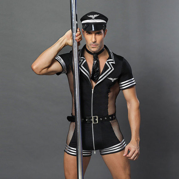 Sexy Nightclub Captain Pilot Costumes Prformance Uniform Seduction Bar clothing Cosplay Men's Lingerie