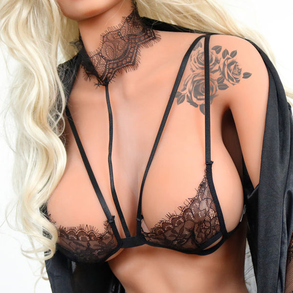Sexy Hollow Camisoles Hanging Neck Bras Black Lace Women's Lingerie