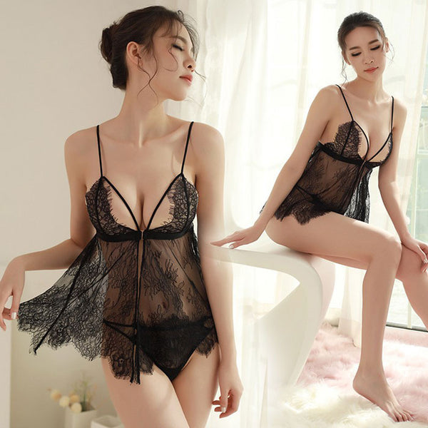 Sexy Lace Strap Nightdress Eyelash Lace Hollow Women's Intimate Lingerie