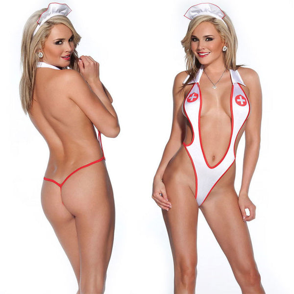 Sexy Simple Uniform Temptation Nurse Cosplay Conjoined Women's Lingerie