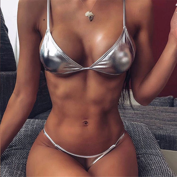 Sexy Simple Bra Set Silver Patent Leather Women's Lingerie