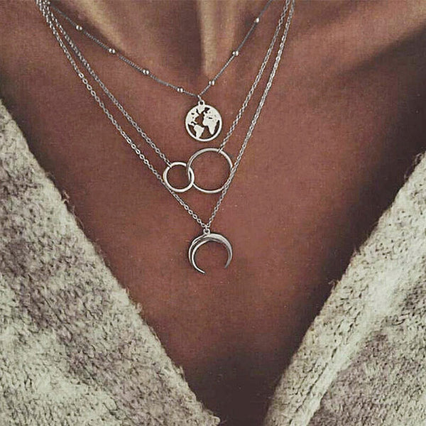 Vintage Moon Map Double Rings Metal Multilayer Clavicle Women Necklace