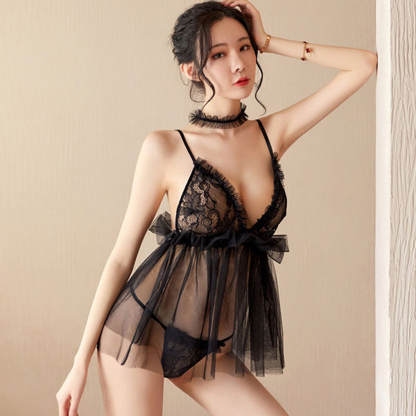 Sexy Panties Nightdress  Lace Mesh Sling Neck Ring Women's Lingerie
