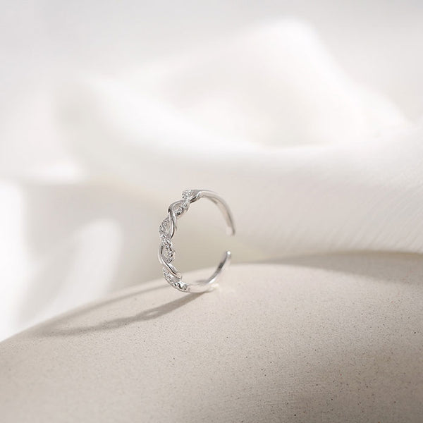 Unique Simple Galaxy Twine Silver Winding Open Ring
