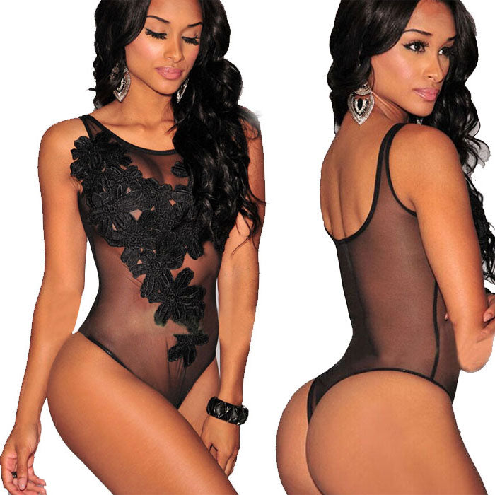 Sexy 3D Flower Embroidered Mesh Perspective One-piece Conjoined Hot Lady Lingerie