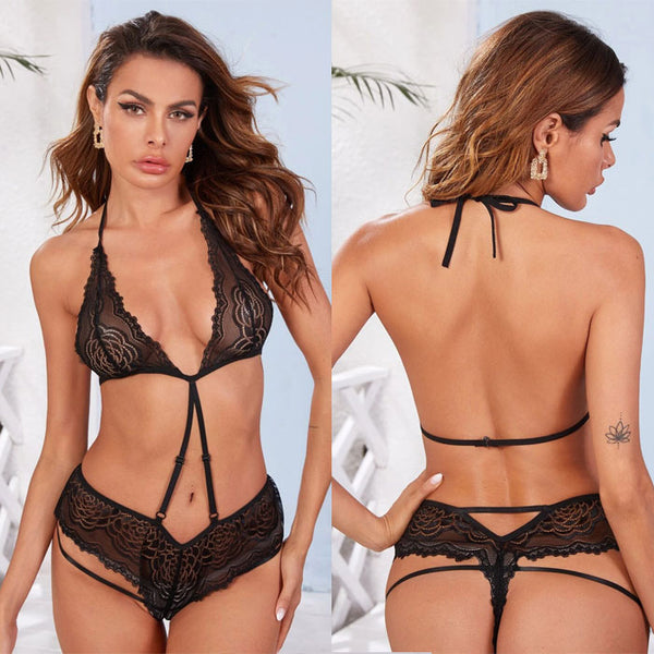 Sexy Spicy Black Lace Sling Conjoined Underwear Spicy Intimate Hot Female Lingerie