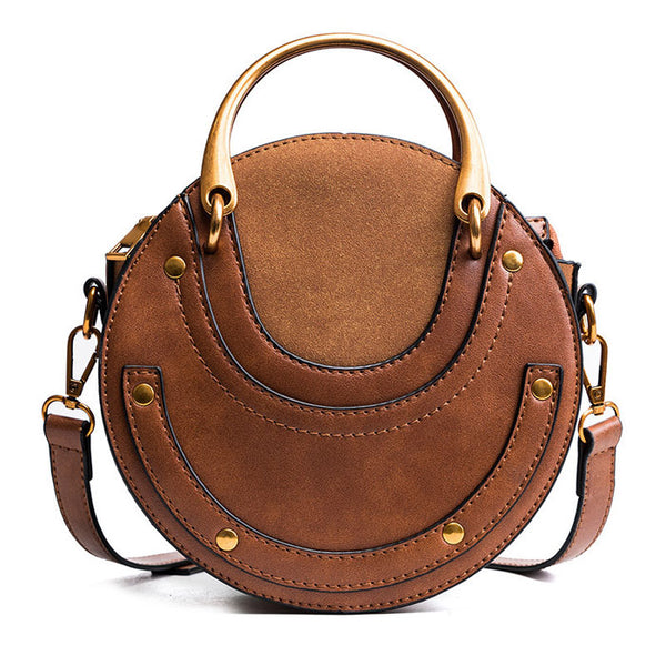 Handbag for Women Small Round Bag Frosted Stitching Tote Crossbody Shoulder Bag
