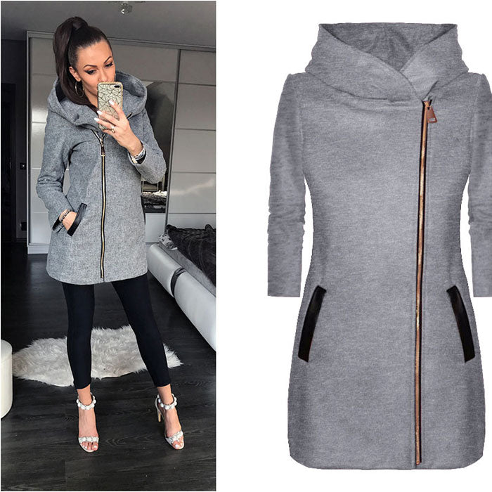 Leisure Side Zipper Plus Fleece Coat Hooded Jacket Winter Sweatshirt Women's Coat