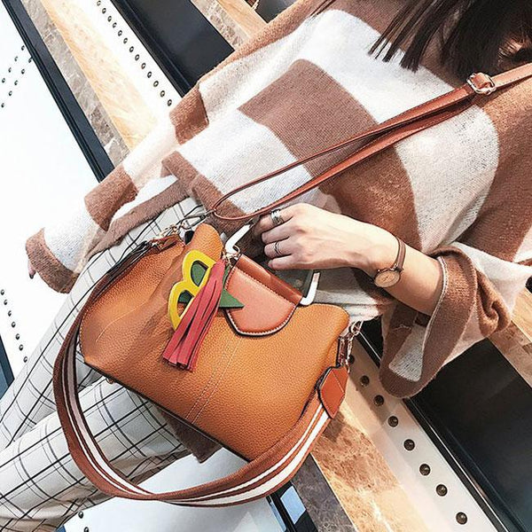 Fresh Girl's Lichee Pattern PU Tassels Letter Star Handbag Pendant Contrast Color Shoulder Bag For Big Sale!- Fowish.com