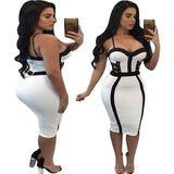 Sexy White Black Color Blocking Splicing Hollowed-out Braces Women's Skirt Dress For Big Sale!- Fowish.com