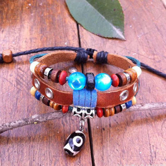 National Blue Beads Leather Bracelet - lilyby
